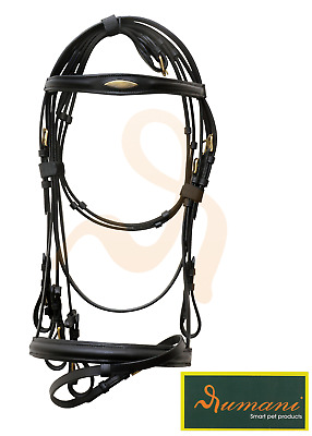 RUMANI Horse Leather BRIDLE & CONTINENTAL REINS With Raised Noseband & Browband
