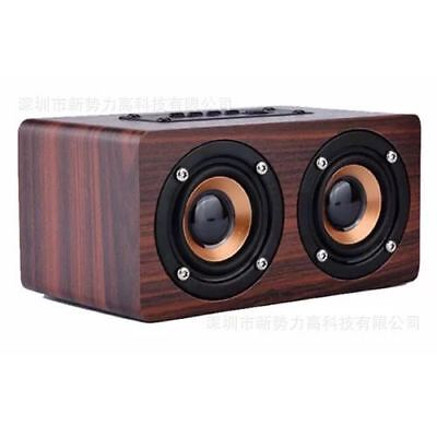Wooden Portable Wireless Bluetooth  Speaker Super Bass  3 D Surround Stereo 10W