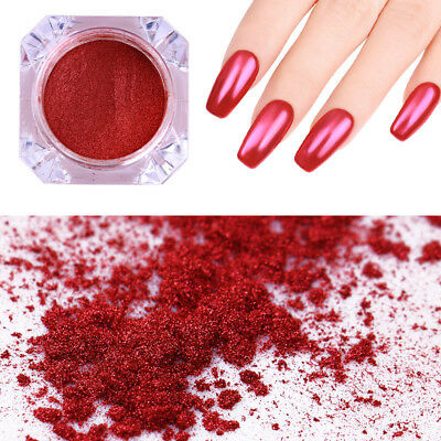 Mirror Effect Nail Art Glitter Powder Red Chrome Pigment Dust Decor Born Pretty