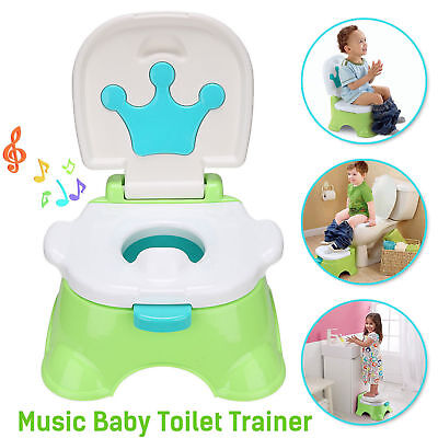 3 in 1 Baby Toilet Trainer Kid Toddler Music Potty Training Safety Seat Chair AU