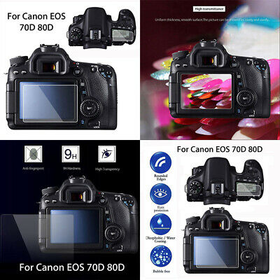 2in1 Tempered Glass LCD Screen Film Protective Cover For Canon EOS 70D 80D