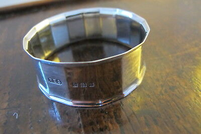 Hallmarked Sterling Silver Napkin Ring - Robert Edgar Stone - 16 Sided - 1929