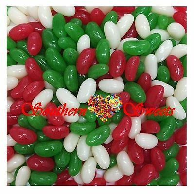 Xmas Jelly Beans 1Kg Christmas Lollies Red White Green Candy Buffet Bulk