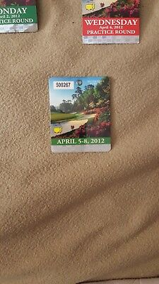2012 Masters badge with two practice-round tickets for each day