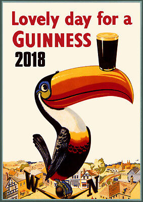 Wall Calendar 2018 [12 pages A4] Guiness Beer Ads Vintage Advert Poster M496