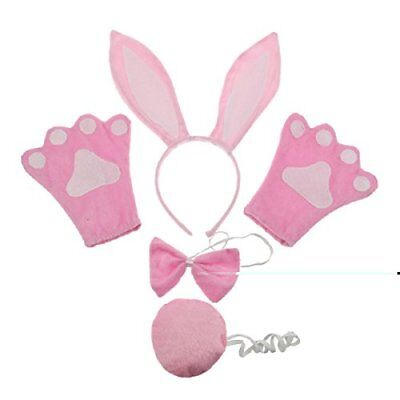 Bunny Ears Headband, Tail and Bow Tie Gloves Set; Pink Rabbit for Easter