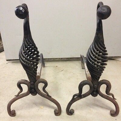 Antique/Vintage  Andirons Hand Forged Rare Twist Style circa 1800s