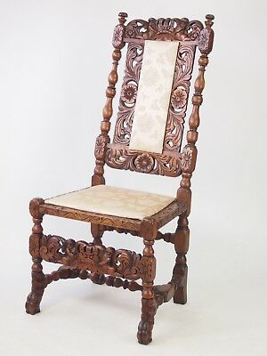 Antique Victorian Walnut Chair -C17th Carolean Gothic Revival Hall Bedroom Chair