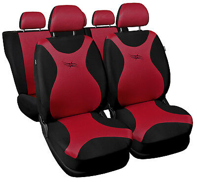 CAR SEAT COVERS Full set Universal fit Renault Clio - black/red