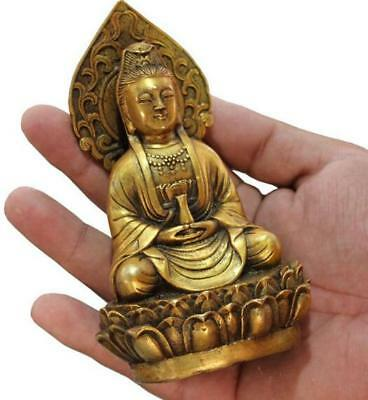Chinese Old Bronze Collectable Handwork Casting Buddha Kwan-yin Statues Statues