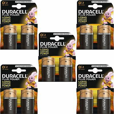 10 x Duracell Plus Power Type D Alkaline Batteries Pack, LR20 MN1300 MX1300 Mono