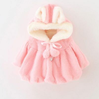 BABY GIRL'S Pink White FAUX FUR Hooded Cloak Cape Soft NEWBORN Cute Present Love