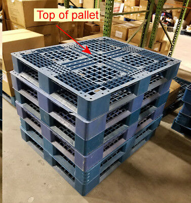 Blue Plastic International Heavy Duty Shipping Freight Pallets, 48x40, Cap2200Lb