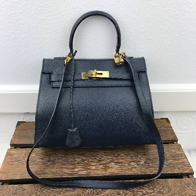 Vintage Navy Blue Leather Top Handle Crossbody Bag Satchel Made In Italy