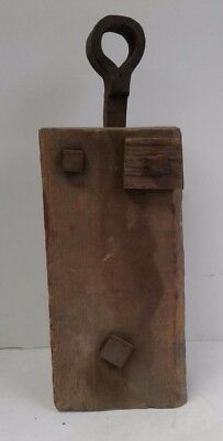 Old Farm Barn Find Vintage Antique Primitive Wooden Block And Tackle Pulley Tool