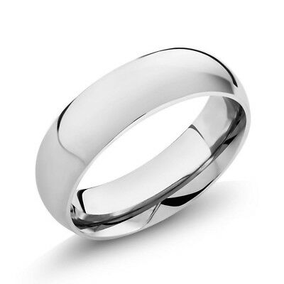Simple 6mm Wide 316L Stainless Steel Men / Women Plain Wedding Band Ring Sz 7-11