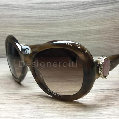 Chanel 5193-B Collection Bouton Sunglasses Brown Gold 1101/3B Authentic 56mm