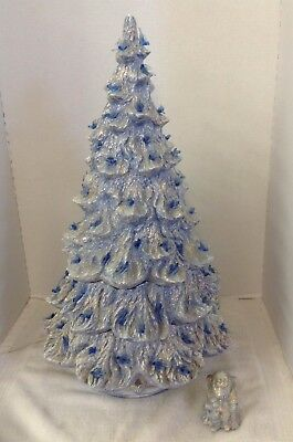 Vintage Nowells 24 Blue Ceramic Christmas Tree Blue Birds