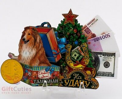 Russian Wooden fridge Magnet talisman Collie Dog symbol of Happy New Year 2018