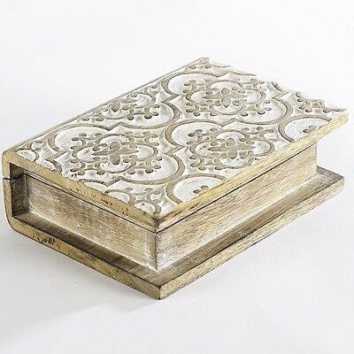 Wood Carved Book Box Storage Container Display Decorative Jewellery Holder