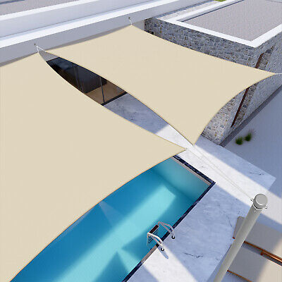 Beige Waterproof Sun Shade Sail Rectangle Awning Top Canopy Custom Size 5