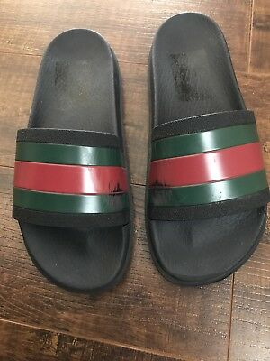 4e8c2b2aed0a04 GUCCI MEN S WEB Slide Sandals Size 7 Black Green Red 100% Authentic ...