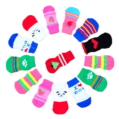 4PCS/set Random Assorted Pattern Pet Dog Puppy Cat Non-Slip Shoes Slippers Socks
