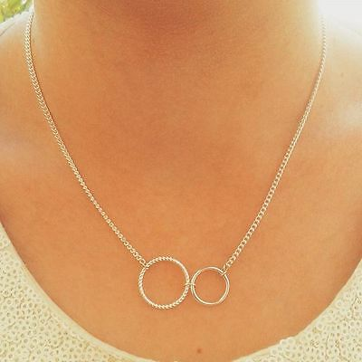 uk Circle necklace double two interlocking eternity friendship silver plated