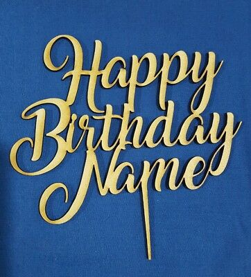 Laser cut cake topper - Happy Birthday Name