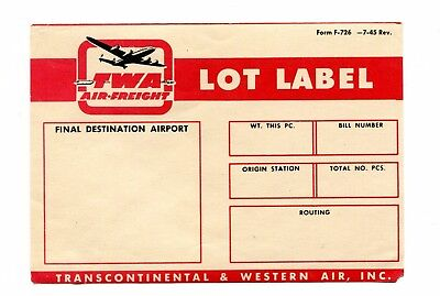 Vintage Airline Luggage Label TWA Air Freight Lot Label Transcontinental Western