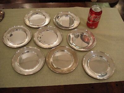 Set Of Eight (8) Sterling Silver Plates, Simple Design, Heavy, Damn Near Perfect