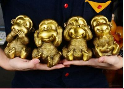 Chinese bronze collection handmade cast cute four monkey statues