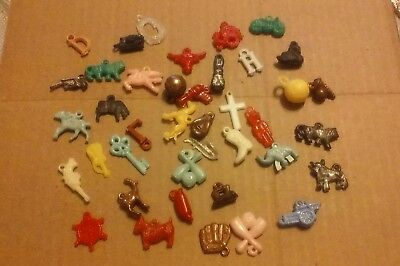 Vintage Lot of 40-Small Plastic/Metal Toys Cracker Jack Prizes Gumball Others
