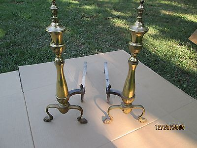Vintage Pair of Brass Andirons Fire Dogs Marked 3437