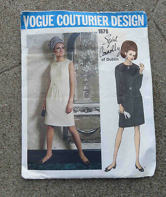 Original  Late 1960s Vogue Couturier Original Pattern Dress by Sybil Connolly 36