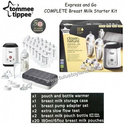BNIB Tommee Tippee Express and Go Complete baby bottle milk feeding Starter Kits