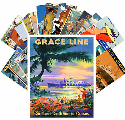 Postcards Pack [24 cards] Ocean Cruise Liner Sea Vintage Travel Posters CC1056
