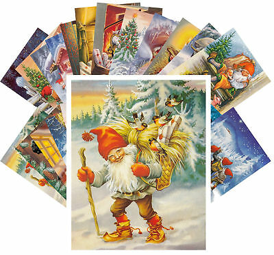 Postcards Pack [24 cards] Vintage Christmas Gnomes by Lars Carlsson CC1116