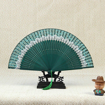 Chinese Style Woman Lace Print Bamboo Folding Fan Gift Ffan Not Contain Racks