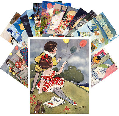 Postcards Pack [24 cards] Young Girls Vintage Illustrations by H Cowhan CC1131