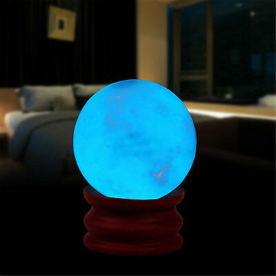 Novelty 35MM Blue Quartz Crystal Sphere Ball Glow In The Dark Stone With Base B