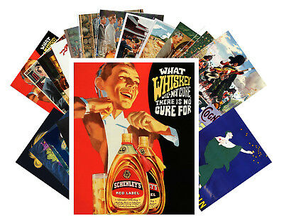 Postcards Pack [24 cards] Whiskey Cognac Ads Vintage Art Deco Posters CC1010