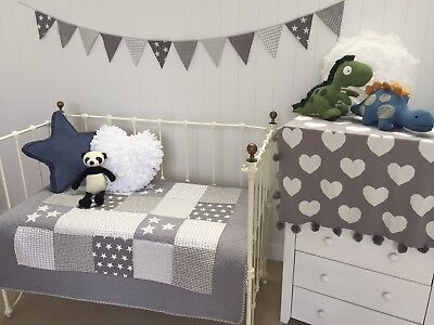 Lachlan Grey Patchwork Stars Cot Quilt Boys Girls Cotton Hamptons Nursery