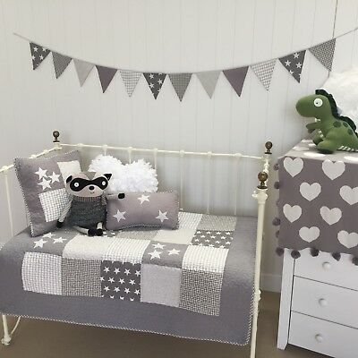 3 pce Cot Quilt & 2 Cushions Set Lachlan Grey Stars Baby Boys Girls Nursery