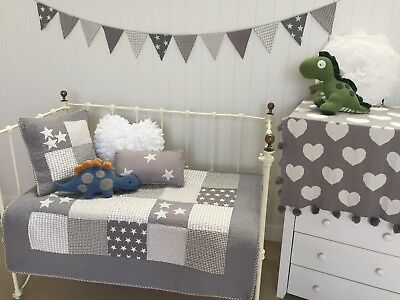 4 pce Cot Quilt & 2 Cushions Bunting Set Lachlan Grey Stars Baby Boys  Nursery