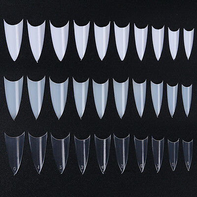 500Pcs French Half Nail Sharp Pointed Tips 10 Sizes Tips Clear White Natural DIY