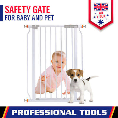 Baby Safety Door Gate Pet Dog Security Stair Barrier White 103 High/74-84cm Wide