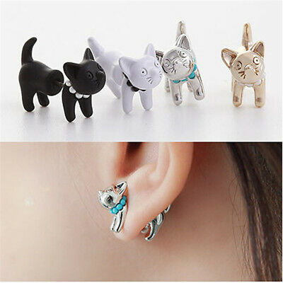 1pair Women Gothic cute Cat Beads Earrings Wrap Ear Studs Earrings Jewelry
