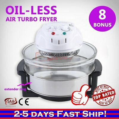 17L Halogen Oven Turbo Low Fat Convection Cooker Electric Air Fryer White/Black