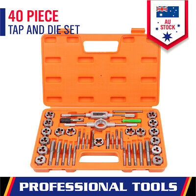 40Pc Tap and Die Set Metric Screw Screwdriver Thread Wrench Hand Drill Tool Kit